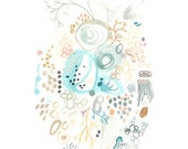 watercolour nature home a4 print abstract heart