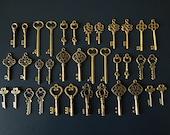 Skeleton Keys - 36 Antique Bronze Brass Skeleton Key Skeleton Key Charm Set Key Pendants Jewelry Making Keys - Keys to the Kingdom -