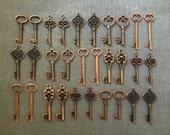 Keys to the World - Skeleton Keys - 30 x Large Vintage Keys Antique Copper Skeleton Key Skeleton Key Set Key Charms Skeleton Wedding Favors