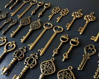 Keys to the Kingdom - Skeleton Keys - 75 x Vintage Keys Antique Bronze Brass Skeleton Key Skeleton Keys Set