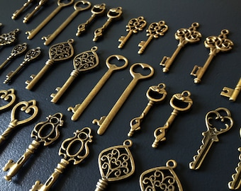 Keys to the Kingdom - Skeleton Keys - 76 x Vintage Keys Antique Bronze Brass Skeleton Key Skeleton Keys Set