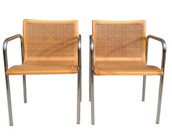 Italian MCM Curved Cane & Chrome Chairs - A Pair