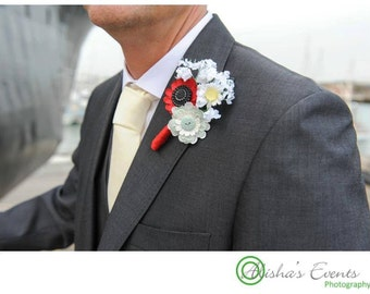 Paper Flower Button Buttonhole / Boutonnière Alternative Wedding