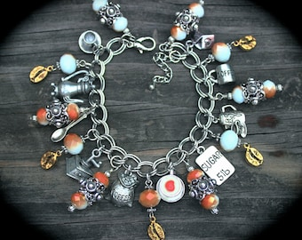 Coffee Lover Charm Bracelet - Early Riser - Cup of Joe - Morning Brew - Caffeine - Expresso - Latte - Cappuccino - Coffee Beans - Barista