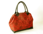 Linen Jacquard Red Purse with Leather Trim, Mason Bag Doctor Bag IN STOCK