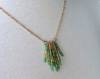 Green gold seed bead necklace