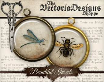 Beautiful Insects Circles - 1.5 inch / 1 inch / 20mm / 18mm / 16 mm / 14mm / 0.5 inch - VDCIVI1118