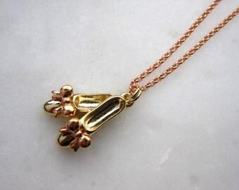 Ballet shoes necklace, Rose gold, gold shoes necklace, Ballet student, Dance shoes, Cinderella shoes, Flower shoes