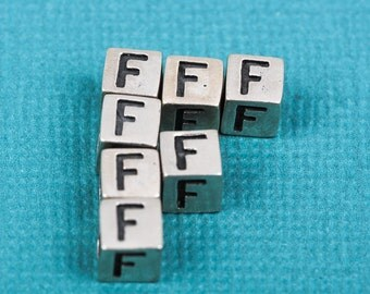 Alphabet LETTER F Sterling Silver Alphabet Block Bead, Square Cube, 4.5mm, pms0310