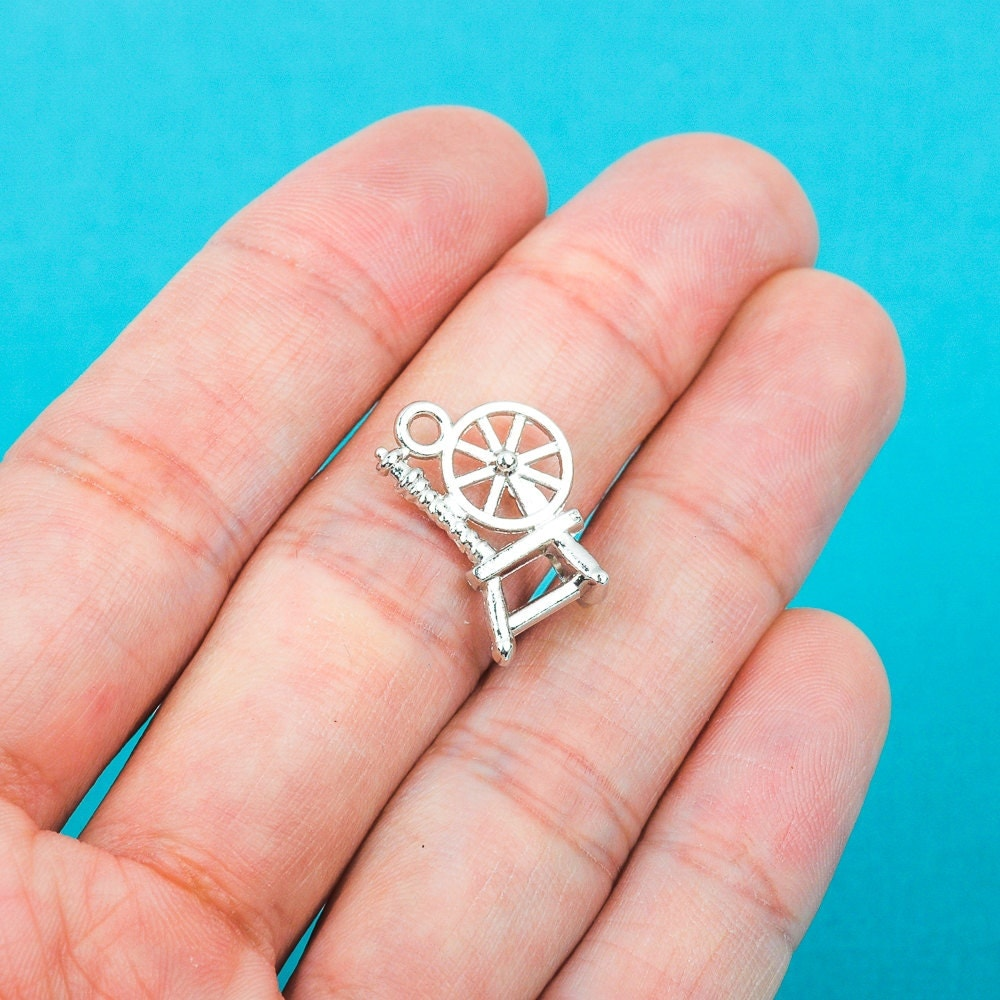 Items Similar To Spinning Wheel Necklace Pewter Charm On