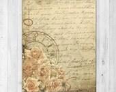 Instant Download Mixed Media Roses Art Print