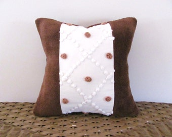 brown polka dots pillow cover CHOCOLATE DOTS chenille cushion cover autumn pillow minky chenille
