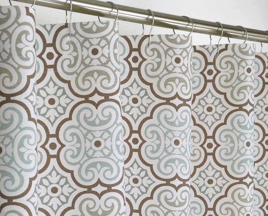 Aqua Medallion Shower Curtain 72 Wide X 72 78 84 96 By Pondlilly