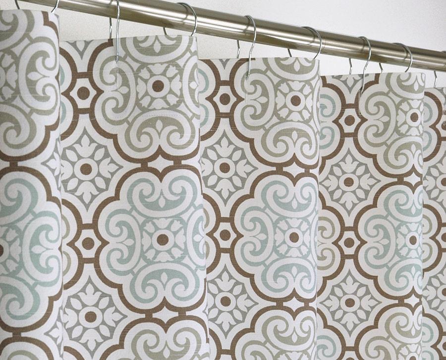 aqua medallion shower curtain 72 wide x 72 78 84 96 by pondlilly. Black Bedroom Furniture Sets. Home Design Ideas