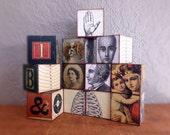 Antique Style Art Blocks Letter Blocks MiniArt Cubes Interactive Block Sculpture Coffee Table Fun