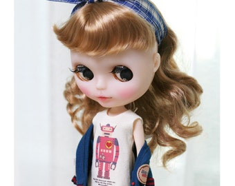 Robot Blue SET - for Blythe, MocaPinoRu - doll outfit