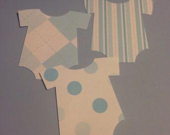 Blue Onesie Diecut Embellishment  - Set of 21 Stripes Argyle Polka Dots