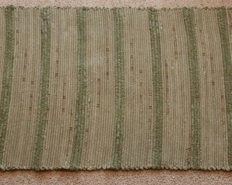 Handwoven Rag Rug - Sage Green with green Terrycloth stripes - 44 inches....(#87)