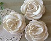 "Ivory Fabric Flowers - Small 2.25"" - 5.5cm Soft Satin Rose flowers wedding embellishment baby headband applique wholesale flower Heather"