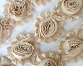 "Nude Blonde Shabby Rose Trim 2.5""  Light tan Shabby Flowers Shabby Chiffon Flowers Solid Shabby Trim Wholesale Rosette trim 6cm yard #116"
