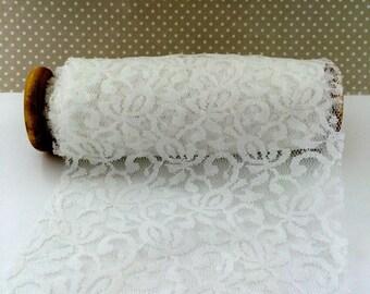 "White Lace  wide Trim  ribbon 6 inch width  x 10 yards on vintage wooden spool - white lace 6"" ribbon trim   AL706-1"