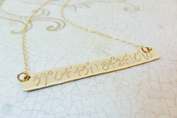 Gold Bar Necklace - Custom Coordinates Necklace - Personalized Latitude and Longitude Jewelry - Long Gold Bar Necklace - Latitude Longitude