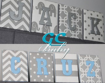 Grey White Fabric Letter Plaques - 12 Print Choices - Custom Name, Initial, or Monogram Decor for Baby Nursery, Girls Room, Boys Bedroom