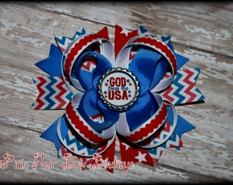 Patriotic hair bow , God Bless America Hair bow, Red white and blue 4 the of July Hair Bow perfect for Independence Day