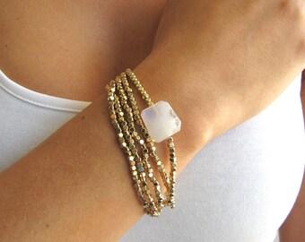 Beaded Moonstone Bracelet