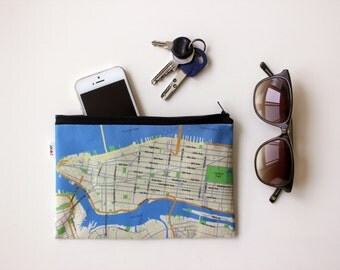 New York map zipper pouch Clutch, Manhattan map wallet, special gift, clutch for accessories, Women wallets, Mens wallet