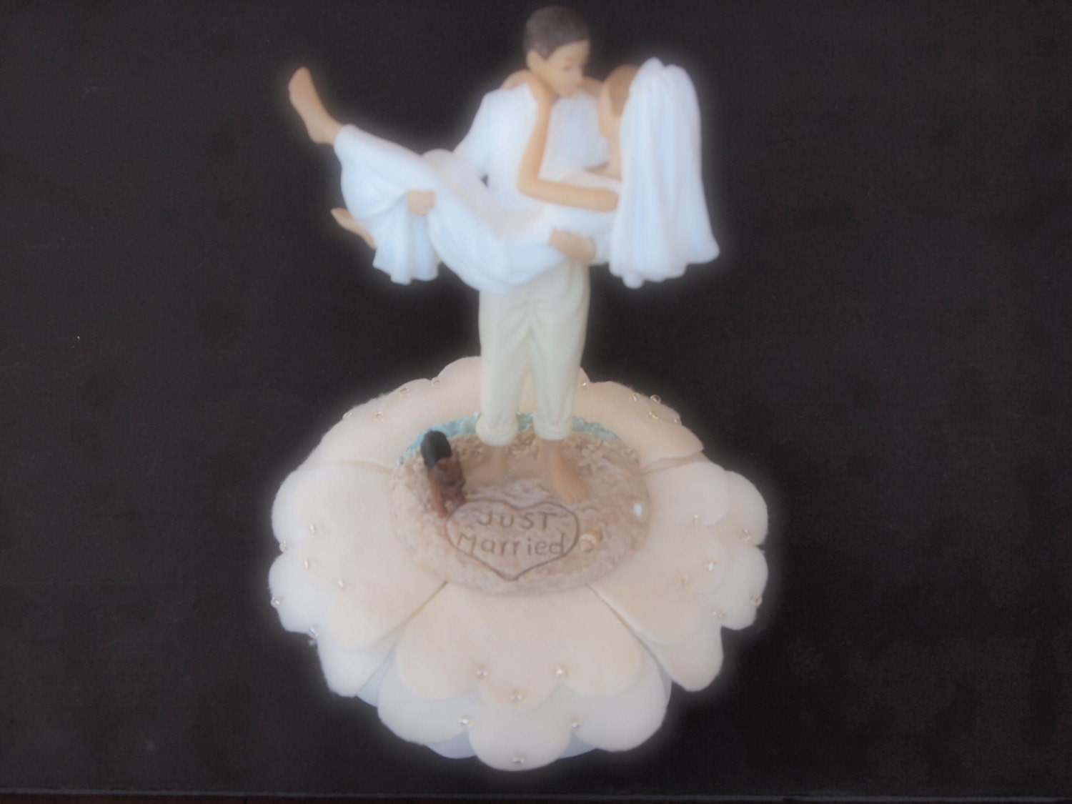 Cake Topper Wedding Bride and Groom Ivory Dog by
