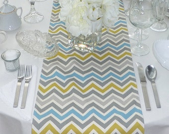 Blue Grey Yellow Table Runner - Wedding Table Runner - Wedding Table Decor - Chevron Zoom Blue Grey Yellow - 12 x 70