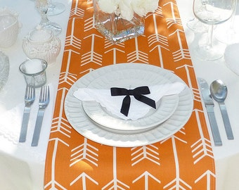 Choose your Table Runner, Orange and White Table Runner - Wedding Table Runner - Wedding Table Decor - Table Runner