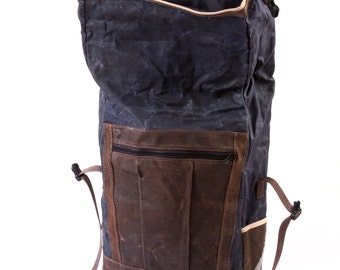 Convertible Backpack Pannier, waxed canvas bicycle bag -- blue and brown