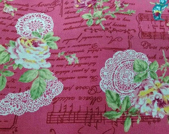 Rose and crochet, pink music notes, fat quarter, pure cotton fabric