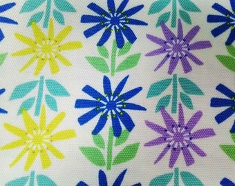 SALE - Cute sunflowers in blue purple yellow, fat quarter, pure cotton fabric