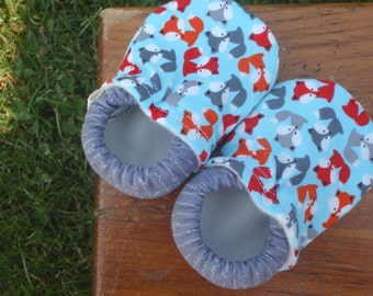 Baby Shoes for Boys - Red, Orange, Grey and Blue Fox Print - Custom Sizes 0-3 3-6 6-12 12-18 18-24 months 2T 3T 4T