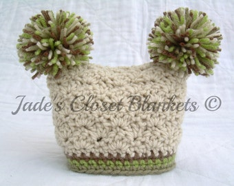 Crochet Earth Tones Baby Hat, Beanie, Neutral Colors, Off White, Tan, Brown, and Green, 0 to 18 months
