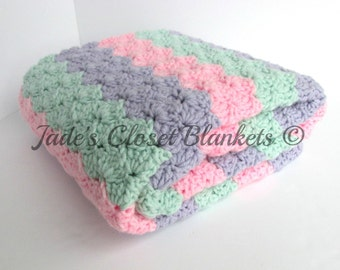 Crochet Baby Blanket, Pastel Baby Girl Blanket, Lilac Purple, Soft Pink, and Soft Mint Green, stroller travel pram size