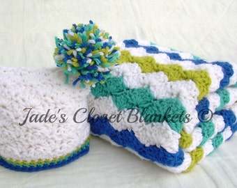 Baby Gift Set, Crochet Baby Travel Blanket and Hat Gift Set, White, Aqua Blue, Grass Green, and Royal Blue