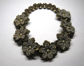 Fabulous Vintage 50s Haskell Style Big Flower & Faux Pearl Choker Necklace