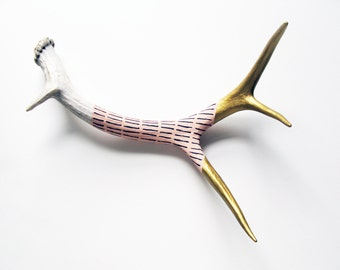 Gold, Peach & Gray Striped Painted Antler - Small