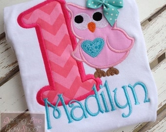 First Birthday Owl shirt, tank top or bodysuit for girls  -- Pretty Little Owl -- Aqua and pinks with name in pink chevron