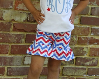 Knit Ruffle Shorts -- Girls chevron ruffle pants for Summer and birthdays -- red, white and blue for 4th of July -- sizes 12 mo. through 10