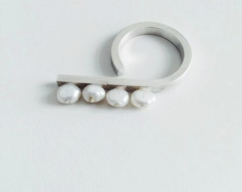 Silver Pearls ring /Minimalist pearls ring /minimalist silver ring/ sterling silver pearl ring / two fingers pearl ring