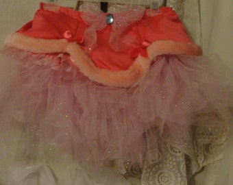 Valentine Lingerie fantasy skirt in pink with pink sparkly tulle tutu