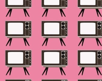 Pink Retro TV  Fabric YARD