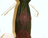 Shimmery bottle green fabric Wine Bag 2 metallic fuschia floral henna motif gift bag Hostess gift favors block printed design reusable