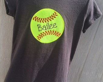 Child's custom personalized softball shirt softball applique front with softball number on back