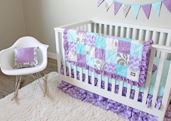 Girl Baby Bedding Aqua Purple Ruffle and Grey by GiggleSixBaby
